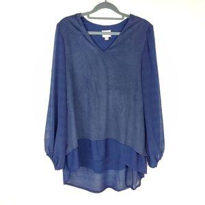 🆕️ {Vintage}   Blue Suede Asymmetrical Blouse
